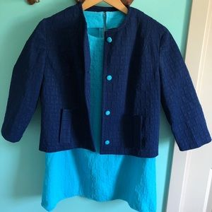 VTG 60s Blue Mini Dress With Matching Jacket